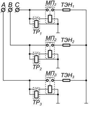 Схема трехфазного подключение ТЭНов через теплореле и контактор