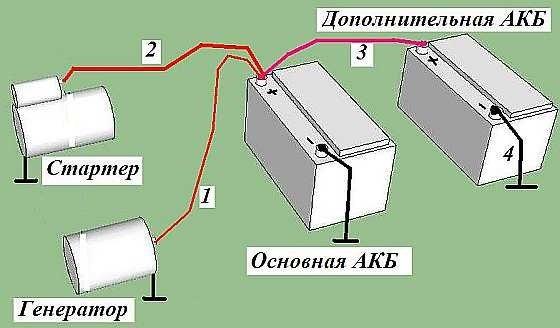 Схема подключения двух аккумуляторов.