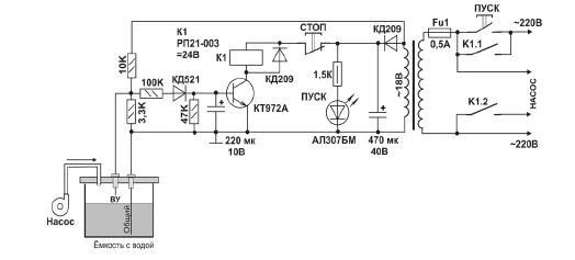Дополненная схема для насоса вибрационного или самовсасывающего типа.