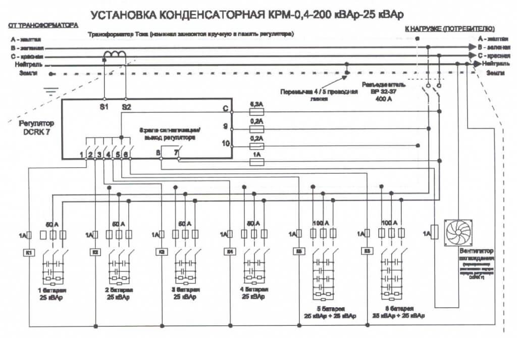 Конденсаторные установки компенсации реактивной мощности схема